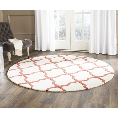 Charlenne Wool Ivory / Rust Area Rug Rug Size: Round 6