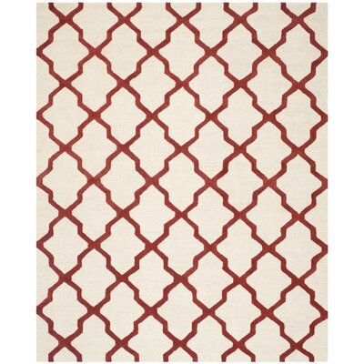 Charlenne Wool Ivory / Rust Area Rug Rug Size: Rectangle 8 x 10