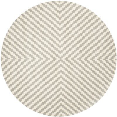 Martins Grey & Ivory Area Rug Rug Size: Round 6