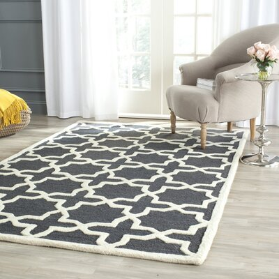 Martins Dark Grey/Ivory Area Rug Rug Size: Rectangle 9 x 12