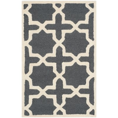 Martins Dark Grey/Ivory Area Rug Rug Size: 2 x 3