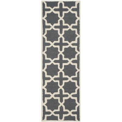 Martins Dark Grey/Ivory Area Rug Rug Size: Runner 26 x 12