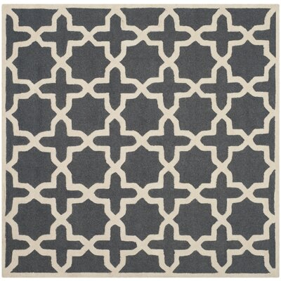 Martins Dark Grey/Ivory Area Rug Rug Size: Square 4