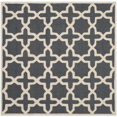 Martins Dark Grey/Ivory Area Rug Rug Size: Square 4