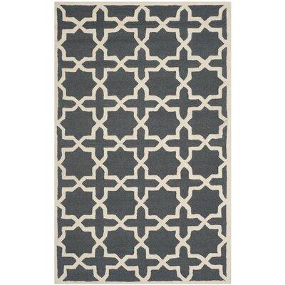Martins Dark Grey/Ivory Area Rug Rug Size: 6 x 9