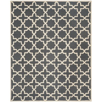 Martins Dark Grey/Ivory Area Rug Rug Size: 9 x 12