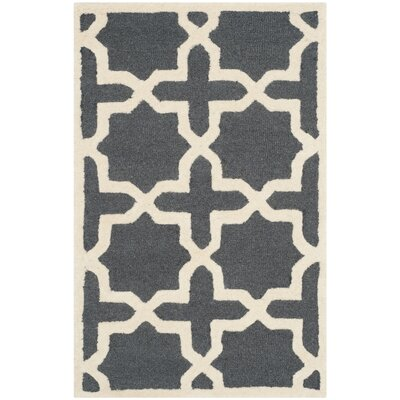 Martins Dark Grey/Ivory Area Rug Rug Size: 26 x 4