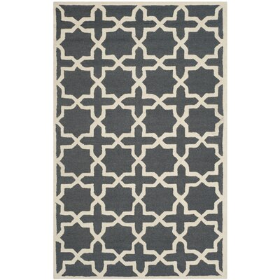 Martins Dark Grey/Ivory Area Rug Rug Size: 4 x 6