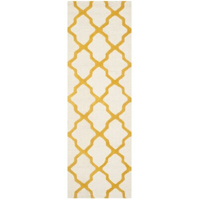 Charlenne Hand-Tufted Ivory/Gold Area Rug Rug Size: Runner 26 x 6