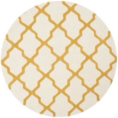 Charlenne Hand-Tufted Ivory/Gold Area Rug Rug Size: Round 6
