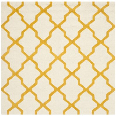Charlenne Hand-Tufted Ivory/Gold Area Rug Rug Size: Square 4