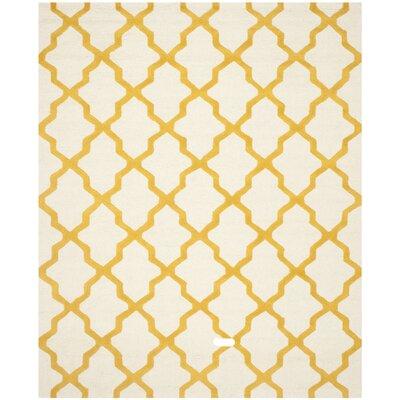 Charlenne Ivory / Gold Area Rug Rug Size: 10 x 14