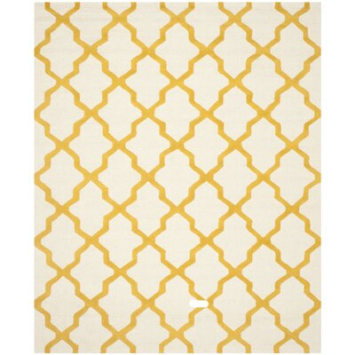 Charlenne Ivory / Gold Area Rug Rug Size: Round 6