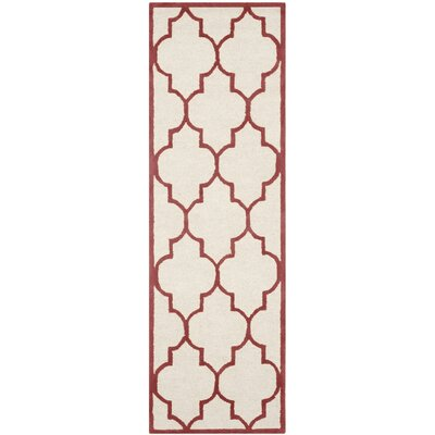 Charlenne Ivory / Rust Area Rug Rug Size: Runner 26 x 6