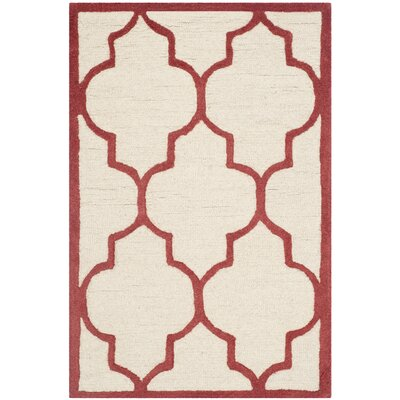 Charlenne Ivory / Rust Area Rug Rug Size: Rectangle 26 x 4