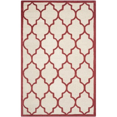 Charlenne Ivory / Rust Area Rug Rug Size: Rectangle 4 x 6