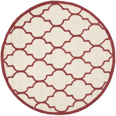 Charlenne Ivory / Rust Area Rug Rug Size: Round 6
