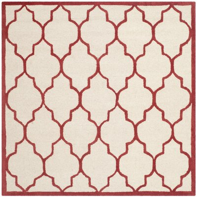 Charlenne Ivory / Rust Area Rug Rug Size: Square 6