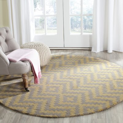 Martins Hand-Tufted Taupe/Gold Area Rug Rug Size: Round 6