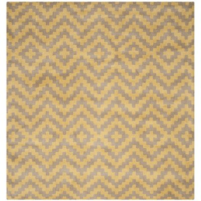 Martins Hand-Tufted Taupe/Gold Area Rug Rug Size: Square 6
