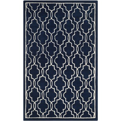 Wilkin Hand-Woven Dark Blue/Ivory Area Rug Rug Size: Rectangle 6 x 9