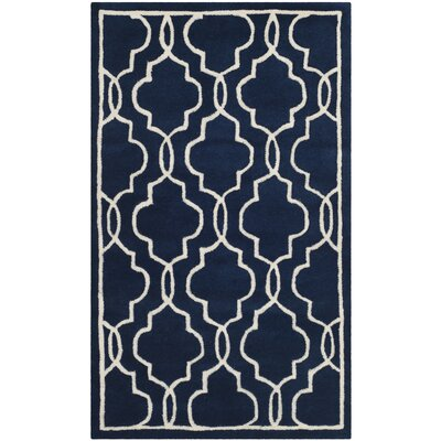 Wilkin Hand-Woven Dark Blue/Ivory Area Rug Rug Size: Rectangle 3 x 5