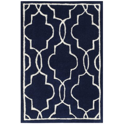 Wilkin Hand-Woven Dark Blue/Ivory Area Rug Rug Size: Rectangle 2 x 3