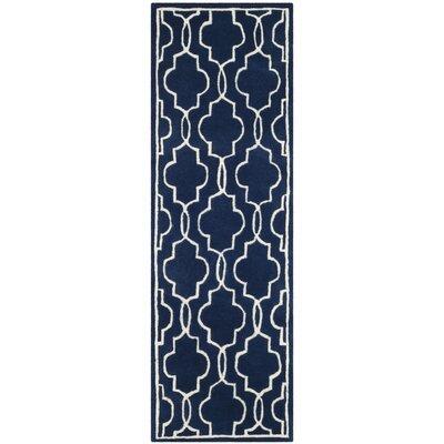 Wilkin Hand-Woven Dark Blue/Ivory Area Rug Rug Size: Runner 2'3