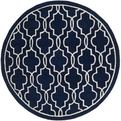 Wilkin Hand-Woven Dark Blue/Ivory Area Rug Rug Size: Round 5
