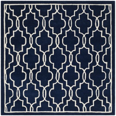 Wilkin Hand-Woven Dark Blue/Ivory Area Rug Rug Size: Square 5
