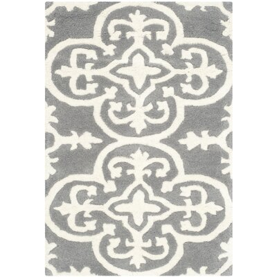 Wilkin Dark Grey / Ivory Contemporary Rug Rug Size: Rectangle 2 x 3