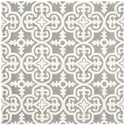 Wilkin Dark Grey / Ivory Contemporary Rug Rug Size: Square 5