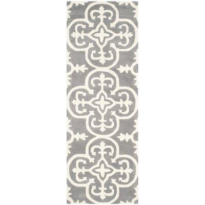 Wilkin Dark Grey / Ivory Contemporary Rug Rug Size: Runner 23 x 7