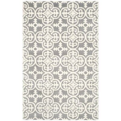 Wilkin Dark Grey / Ivory Contemporary Rug Rug Size: 4 x 6