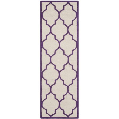 Charlenne Hand-Tufted Ivory/Purple Area Rug Rug Size: Runner 26 x 8