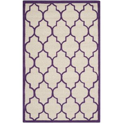 Charlenne Ivory/Purple Area Rug Rug Size: 3 x 5