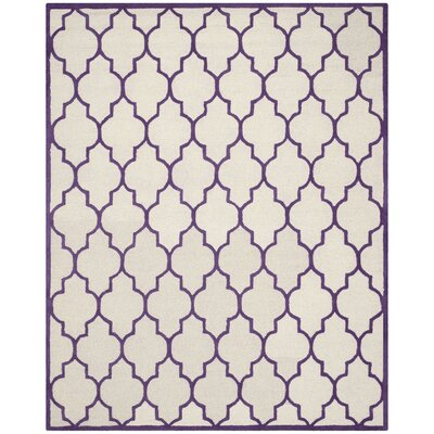Charlenne Ivory/Purple Area Rug Rug Size: 9 x 12