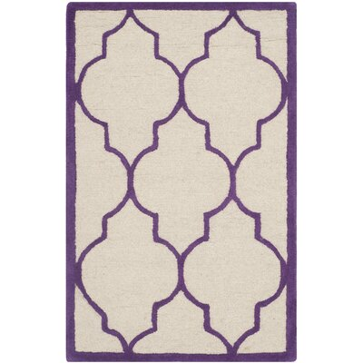 Martins Ivory/Purple Area Rug Rug Size: 26 x 4