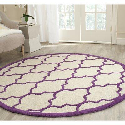 Charlenne Ivory/Purple Area Rug Rug Size: Round 6