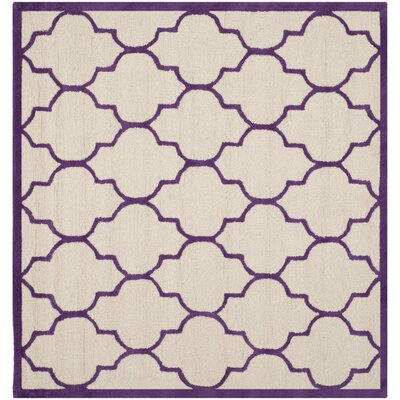 Charlenne Ivory/Purple Area Rug Rug Size: Square 6