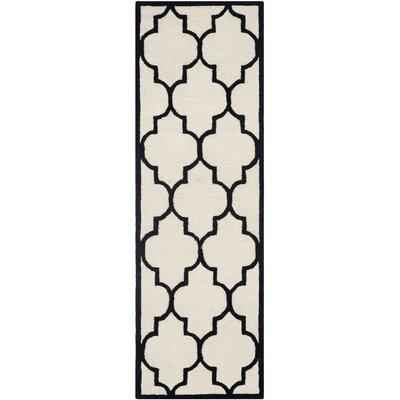 Charlenne Hand-Tufted Ivory/Black Area Rug Rug Size: Runner 26 x 6