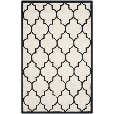 Charlenne Ivory / Black Area Rug Rug Size: 4 x 6