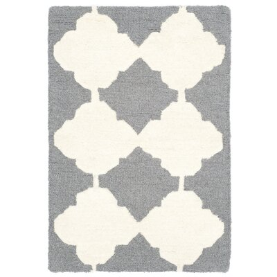 Martins Dark Gray/Ivory Area Rug Rug Size: 2' x 3'