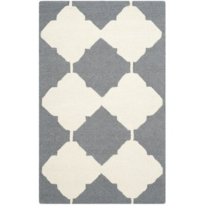 Martins Dark Gray/Ivory Area Rug Rug Size: 4 x 6