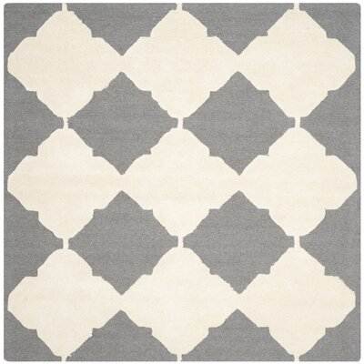 Martins Dark Gray/Ivory Area Rug Rug Size: Square 6'