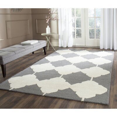 Martins Dark Gray/Ivory Area Rug Rug Size: Square 6