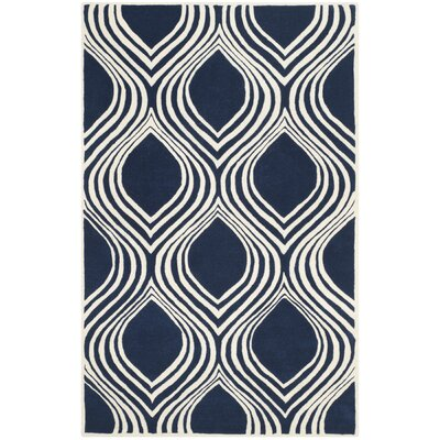 Wilkin Dark Blue/Ivory Area Rug Rug Size: Rectangle 4 x 6