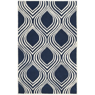 Wilkin Dark Blue/Ivory Area Rug Rug Size: 4 x 6