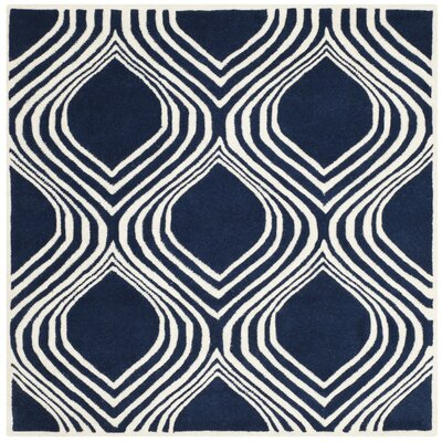 Wilkin Dark Blue/Ivory Area Rug Rug Size: Square 5