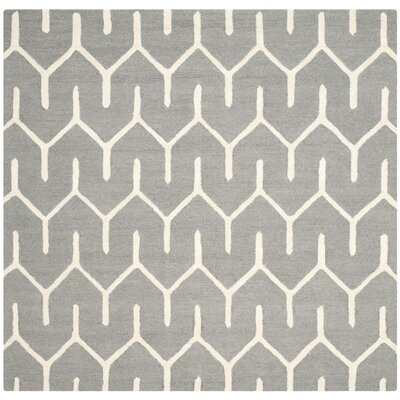 Martins Dark Gray / Ivory Area Rug Rug Size: Square 6